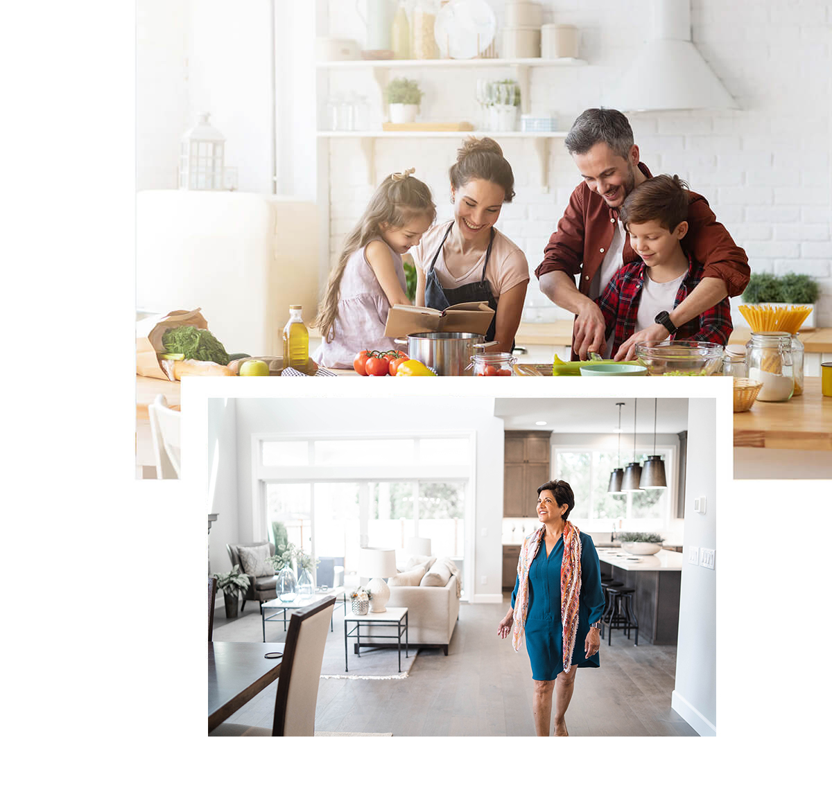 Our Difference - Family in Kitchen, Fireplace Image